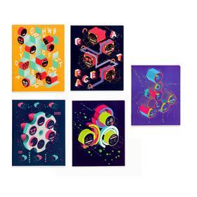 Тетрадь 96 листов в клетку Emoji, обложка мелованный картон, выборочный УФ-лак, блок офсет, МИКС
