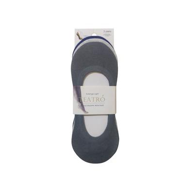 Набор носков-невидимок женских (3 пары) цвет unica (светло-серый, тёмно-серый, синий) размер 23-25