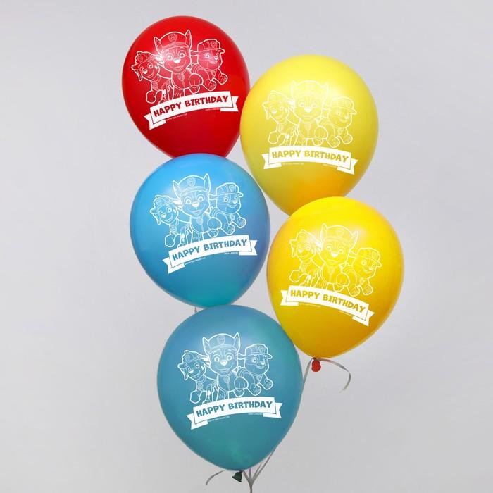 """Воздушные шары """"Happy birthday"""", Щенячий патруль 12 дюйм (набор 50 шт)"""
