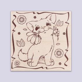 Доска для выжигания 'Котик с цветком' Ош