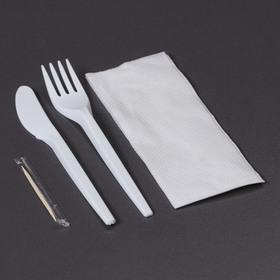 Набор приборов 3 в 1, вилка+нож+ салфетка  цвет белый + зубочистка Ош