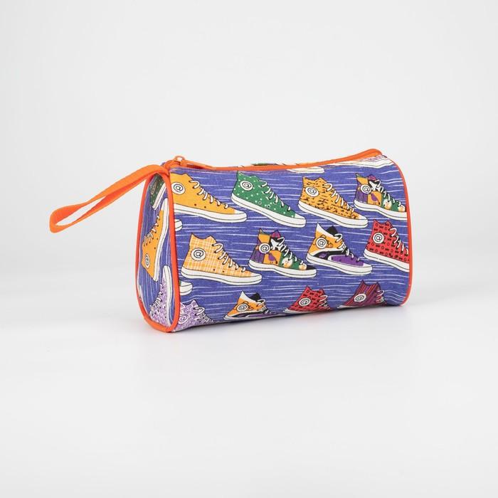 Косметичка-сумочка, отдел на молнии, цвет голубой