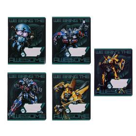 Тетрадь 24 листа в линейку Transformers, обложка мелованный картон, ВД-лак, блок офсет, МИКС