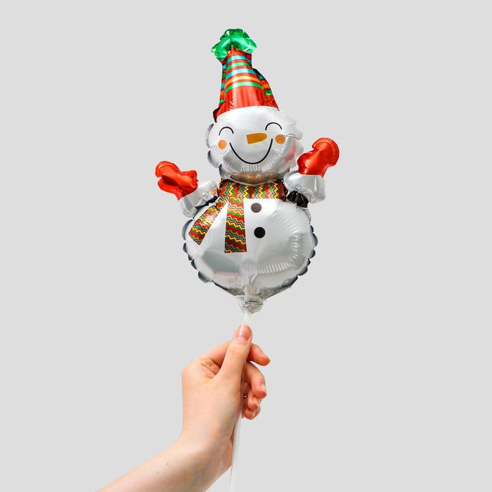Шар фольгированный 12 Снеговик с шарфиком в полоску