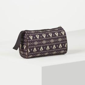 Косметичка-сумочка, отдел на молнии, цвет коричневый Ош