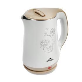 """Чайник электрический """"Добрыня"""" DO-1244, пластик, колба металл, 1.8 л, 1800 Вт, белый"""