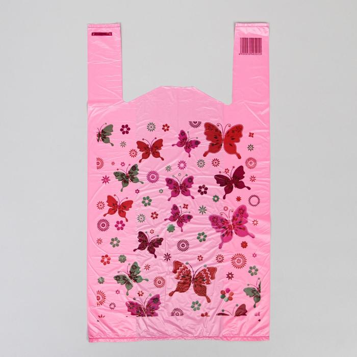 """Пакет """"Бабочки розовые"""", полиэтиленовый майка, 28 х 50 см, 12 мкм"""