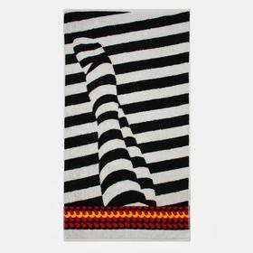 Полотенце махровое «Focus» цвет белый/чёрный, 70х130 см, 460г/м2