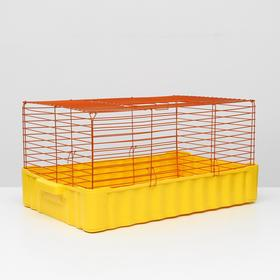 Клетка для кроликов № 4, 75 х 46 х 40 см, желтый/оранжевый
