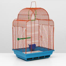 Клетка для птиц 'Купола' комплект, 35 х 29 х 51 см, синий/оранжевый Ош
