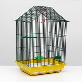 Клетка для птиц большая, крыша-домик, комплект, 34 х 28 х 54 см, жёлтый/зелёный Ош