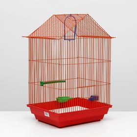 Клетка для птиц большая, крыша-домик, комплект, 34 х 28 х 54 см, красный/оранжевый Ош