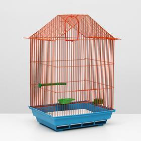 Клетка для птиц большая, крыша-домик, комплект, 34 х 28 х 54 см, голубой/оранжевый Ош
