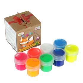 Краски пальчиковые набор 8 цветов х 20мл, ARTEVIVA №2 Неоновые цвета 160 мл (улучшенная формула), 3+ Ош