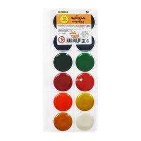 Акварель медовая 12 цветов, Спектр без кисти (кювета 4 г), в пластиковом пенале