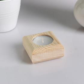 Подсвечник деревянный под 1 свечу 'Квадратный', МАССИВ, 6×6×3 см Ош