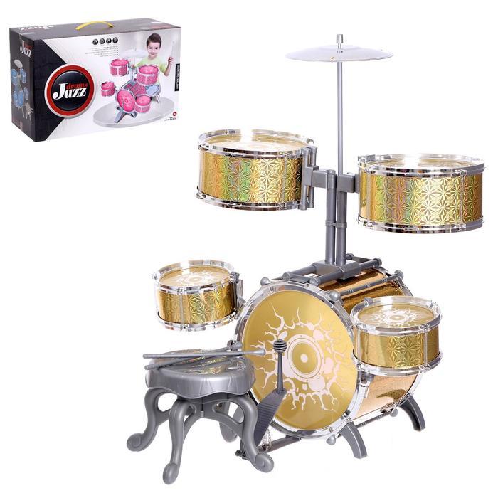 Барабанная установка «Большой музыкант», со стульчиком, цвет жёлтый
