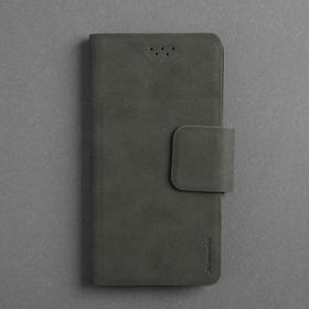"""Чехол-книжка Maverick Slimcase, универсальный, размер 4.8-5"""", материал алькантара, антрацит"""