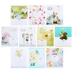 Тетрадь 12 листов в косую линейку «Для девочек», обложка мелованный картон, блок офсет, МИКС