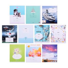 Тетрадь 12 листов в крупную клетку «Ассорти», обложка мелованный картон, ВД-лак, блок офсет, МИКС