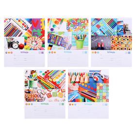 Тетрадь 12 листов в крупную клетку «Школьная коллекция-3», обложка мелованный картон, блок офсет, МИКС