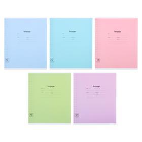 Тетрадь 12 листов в крупную клетку «Одноцветная. Линовка», обложка мелованный картон, блок офсет, МИКС