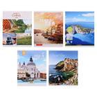 Тетрадь 96 листов в клетку «Путешествия», обложка мелованный картон, блок офсет, МИКС
