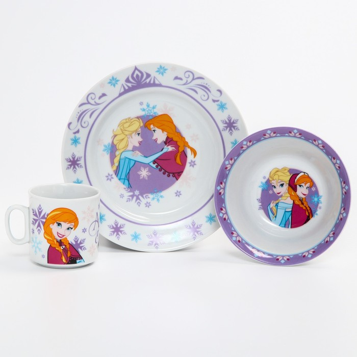 Набор посуды «Анна и Эльза», 4 предмета: тарелка Ø 16,5 см, миска Ø 14 см, кружка 200 мл, коврик в подарочной упаковке, Холодное сердце