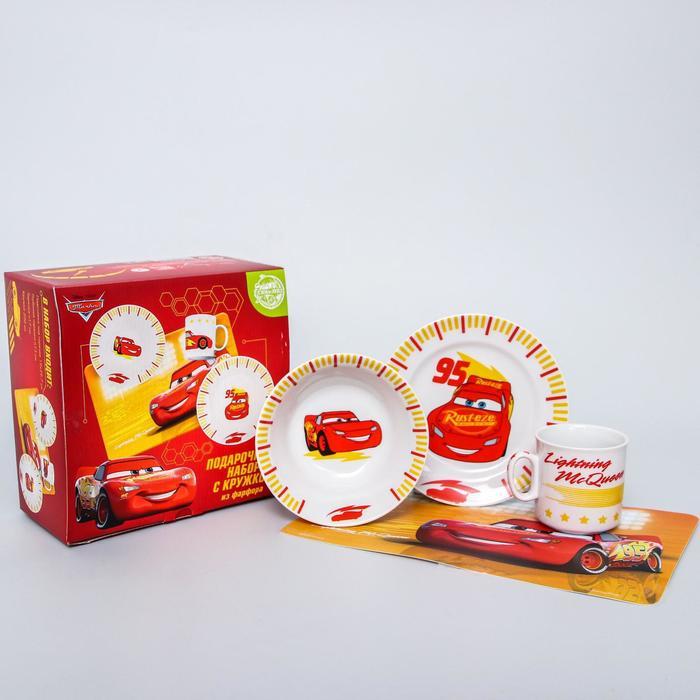 Набор посуды «Тачки», 4 предмета: тарелка Ø 16,5 см, миска Ø 14 см, кружка 200 мл, коврик в подарочной упаковке, Тачки