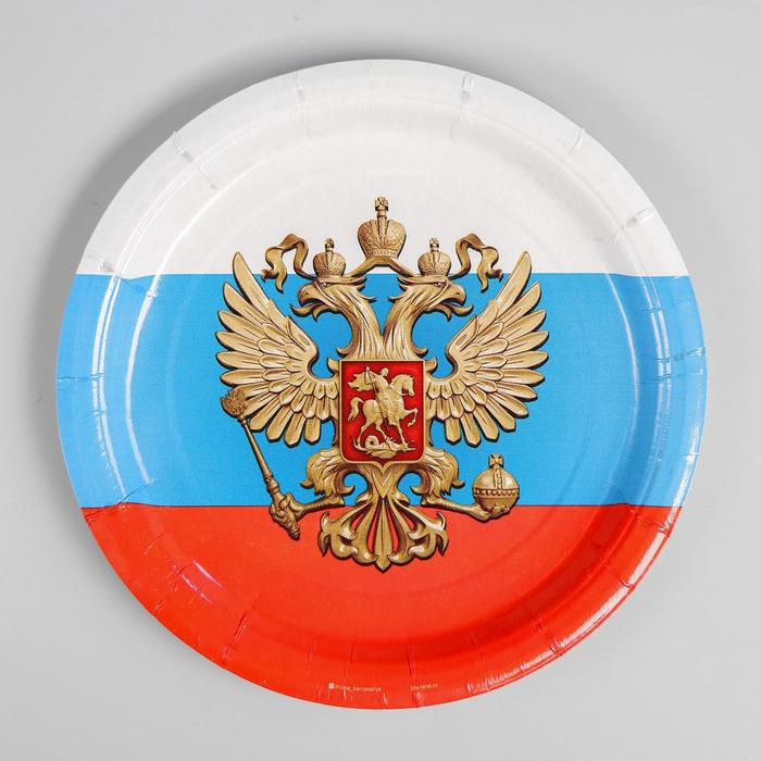 Тарелка бумажная «Россия», 18 см