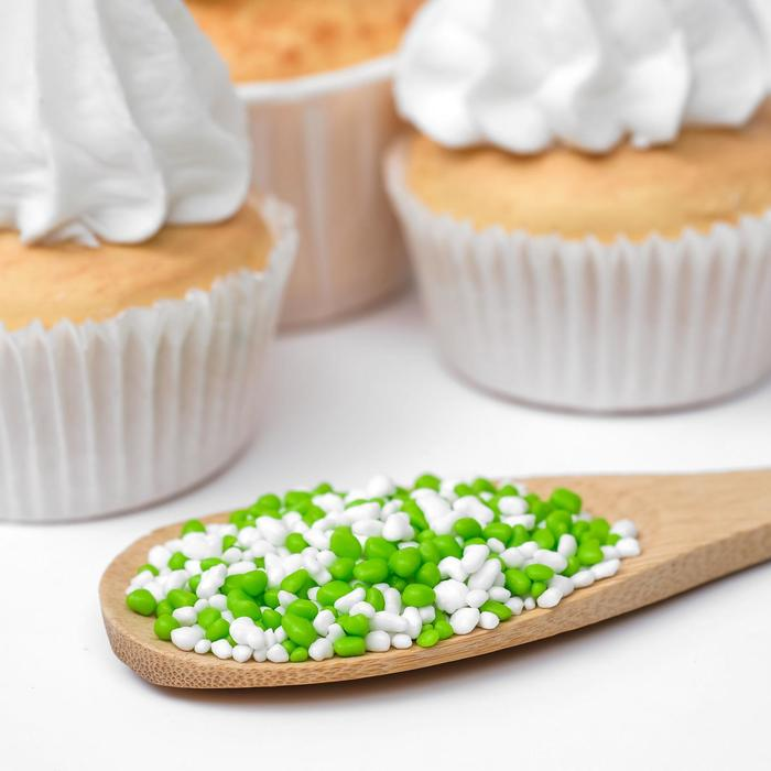 Посыпка декоративная цветная «Крошка Люкс», белая/зелёная, 50 г