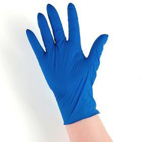Перчатки хозяйственные нитриловые неопудренные, размер S, 100 шт/уп 2,5 г/шт., цвет синий , цена за 1 перчатку