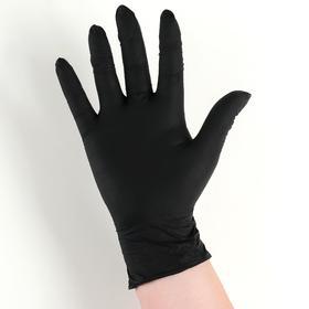Перчатки хозяйственные нитриловые неопудренные Доляна, размер S, 3,5 гр, 100 шт/уп, цена за 1 шт, цвет чёрный
