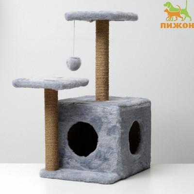 Домик-когтеточка «Квадратный трёхэтажный с двумя окошками», джут, 45×47×75 см, серая - Фото 1