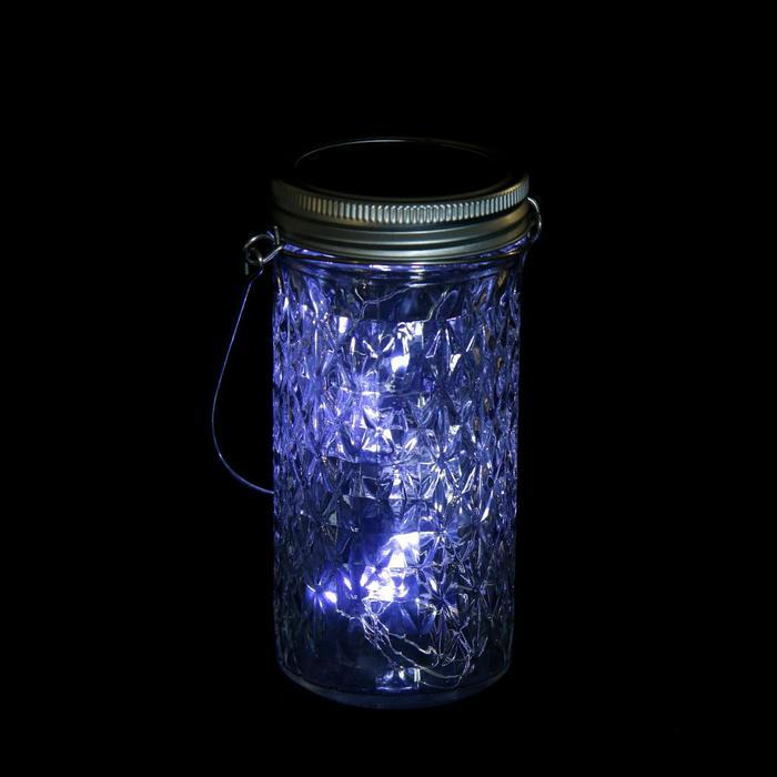 """Светильник-банка """"Граненая"""" светодиодный на солнечной батарее 20 LED, с подвесом, БЕЛЫЙ"""