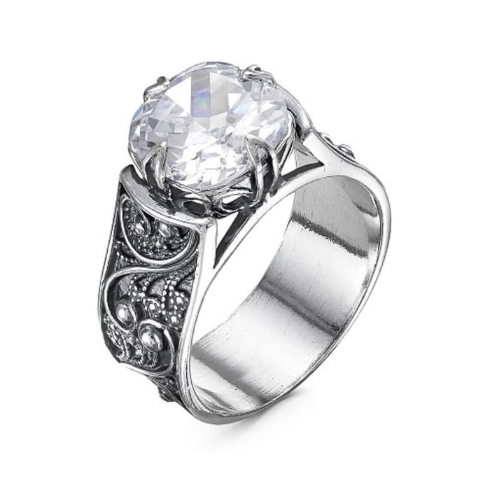"""Кольцо """"Ажур"""" с камнем, посеребрение с оксидированием, 18,5 размер"""