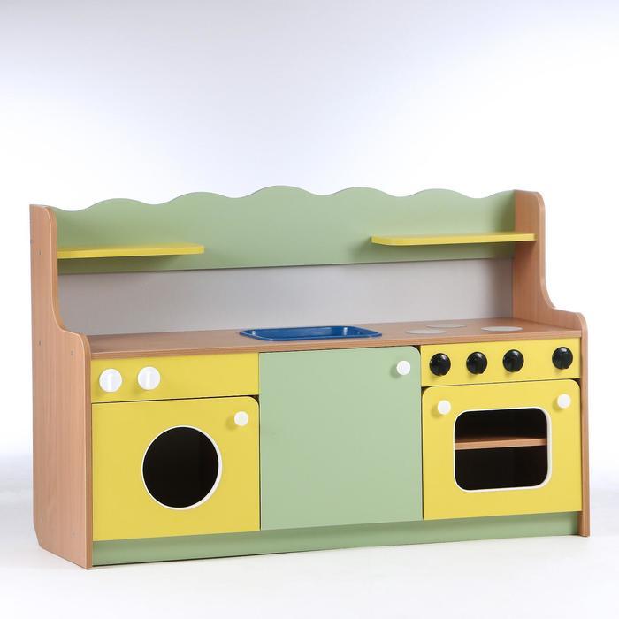 Кухня малая 1280х420х850, ЛДСП, корпус - бук, фасады - цветные