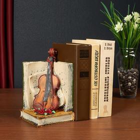 Держатель для книг интерьерный 'Скрипка и нотная тетрадь' МИКС 19,5х11,5х11,5 см Ош