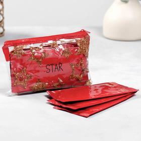 Косметичка с влажными салфетками STAR в косметичке 15,5х10 см, 10шт, красные Ош