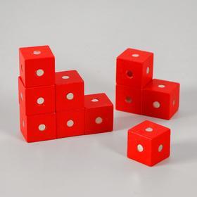 Магнитный констрктор «Кубики» 10 шт размер кубика 2х2х2 см, цвет МИКС