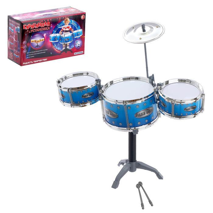 Барабанная установка «Барабанщик», 3 барабана и тарелка, цвета МИКС