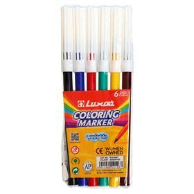 Фломастеры 6 цветов Luxor Coloring смываемые, ПВХ, европодвес Ош