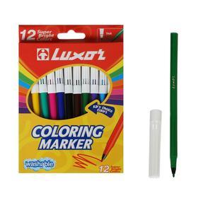 """Фломастеры 12цв Luxor """"Coloring"""" смываемые, картон, европодвес"""