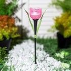 """Фонарь садовый на солнечной батарее Uniel """"Розовый тюльпан"""", белый свет, IP44, 305 мм - Фото 2"""