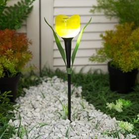 Фонарь садовый на солнечной батарее Uniel 'Желтый тюльпан', белый свет, IP44, 305 мм Ош