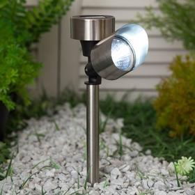 Фонарь садовый на солнечной батарее Uniel SPOT, нержавеющая сталь, белый свет, IP44, 375 мм