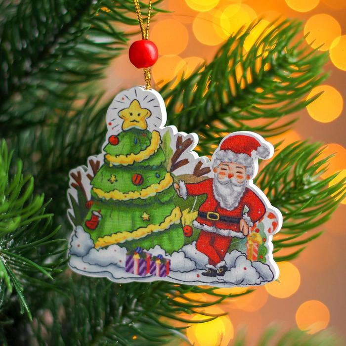 Подвеска новогодняя деревянная Ёлочка и Дед Мороз 0,57,56,7 см
