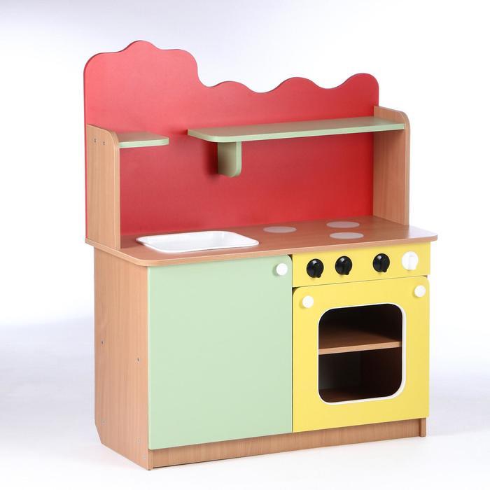 Кухня детская 950х420х1160, ЛДСП, корпус - бук, фасады - цветные