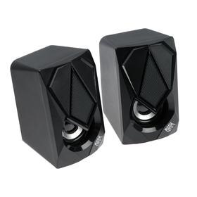 Компьютерные колонки 2.0 Qumo Mask AS004, 2х5 Вт, USB, RGB подсветка, чёрные Ош