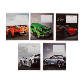 Тетрадь 12 листов в линейку «Авто. Super cars», обложка мелованный картон, ВД-лак, блок офсет, МИКС